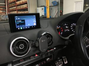 Integrated Automotive IMI-1000 Retrofit Android Auto and CarPlay interface installed in a 2015 Audi RS3